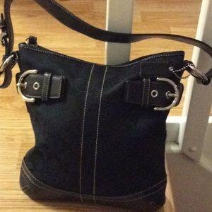 Black jacquard coach purse